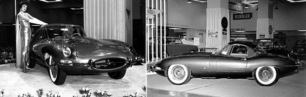 1961 Jaguar XK 3.8L (E-Type) siendo presentado en el Auto Show de Nueva York