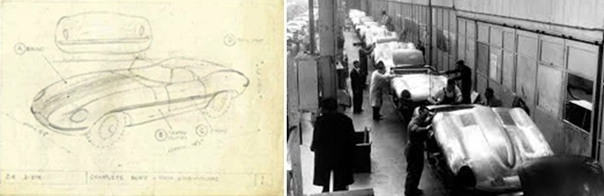 Primer dibujo de Malcom Sayer y los primeros E-Type en producción