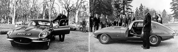 Sir William Lyons junto al E-Type '9600HP' en día de su presentación en Parc des Eaux Vives (Foto ©JDHT)