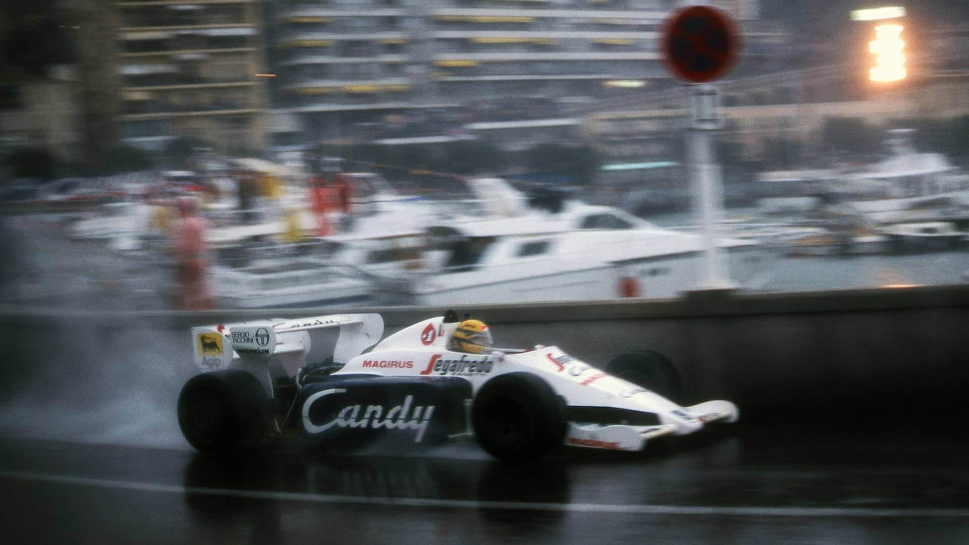 Senna en el Toleman en el diluvio de Mónaco