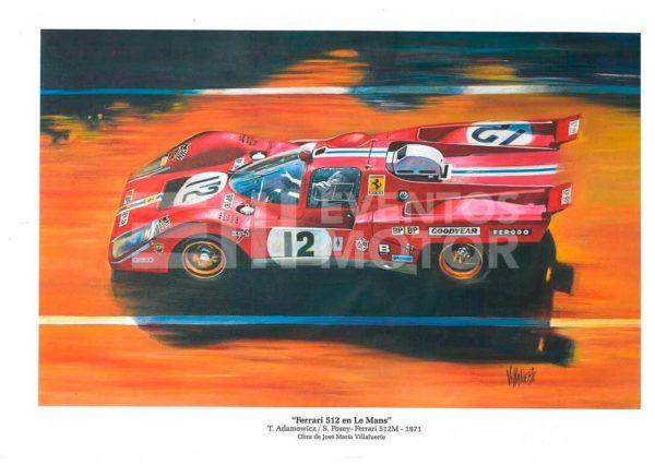 ilustracion ferrari 512 en Le Mans