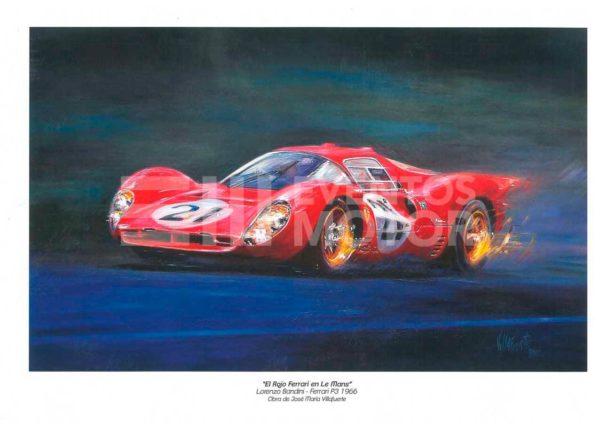 ilustracion Ferrari clasico en Le Mans ans
