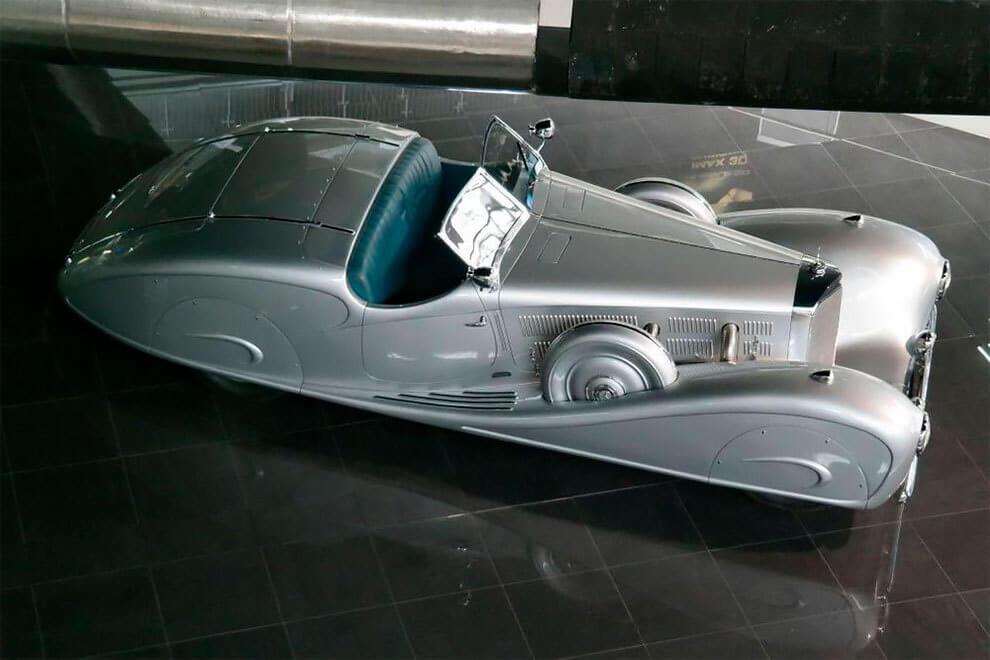 Vista cenital del Mercedes 540k Streamline Roadster Erdman & Rossi