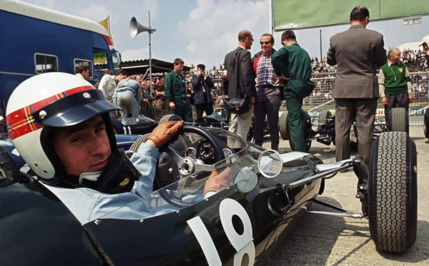 15 Jul 1967: BRM driver Jackie Stewart of Great Britain prepares for the race during the British Formula One Grand Prix held at Brands Hatch, in Kent, England. Stewart had to retire early due to engine trouble. Mandatory Credit: AllsportUK/Getty Images