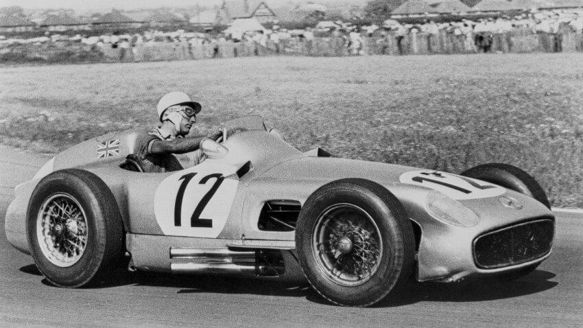 Stirling Moss sobre el Mercedes de Fórmula 1